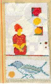 'woman and bird', Taperty embroidery, wool, silk, hemp on canvas