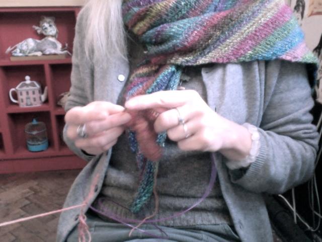 knitting at Krowji