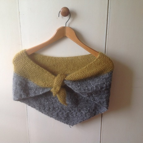 Finished Grey and Yellow Shawl